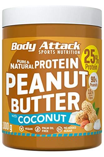 Body Attack Erdnussbutter 25{60f7c03171900de2cc4bafac565892ceff737813b79402aacd0d65eedf2dad7b} Protein mit Kokosnuss-Creme ohne Zusätze Peanut Butter Coconut 1 kg