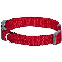 Umi. by Amazon - Classic, collare per cani, M, collo 37-50 cm, regolabile, colore rosso tinta unita