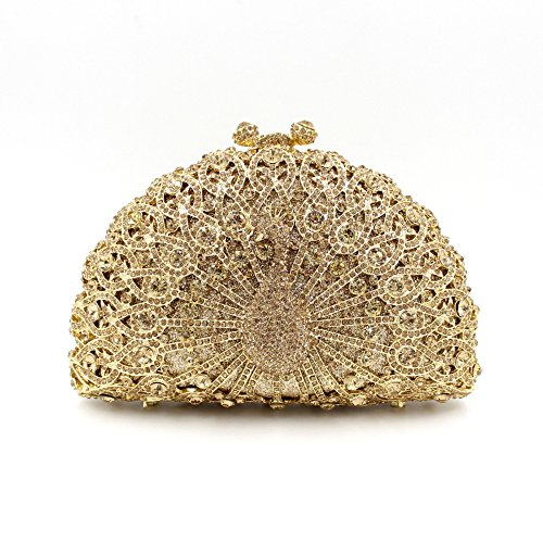 Luxus Nashorn Abendtasche Peacock Handtasche Party Tasche Wallet Golden-A