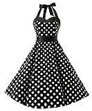 Dresstells, Version3.0 Vintage 1950's Audrey Hepburn pin-up robe de soirée cocktail, style halter années 50 à pois, Noir-Blanc S