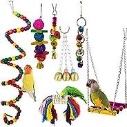 ألعاب طيور الببغاوات المكونة من 7 قطع من جينينيك، مجموعة قفص البادجي كرة تأرجح الطيور حبل معدني للعض لطيور الك