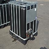 IBC Wassertank 1000l, Blase Schwarz (UV-Schutz) auf Stahl/PE-Palette mit Weidetränke und Verbindungsset Gitterbox gebraucht.