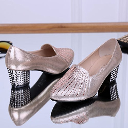 Oasap Women's Pointed Toe Rhineston Block Heels Slip-on Dance Shoes golden