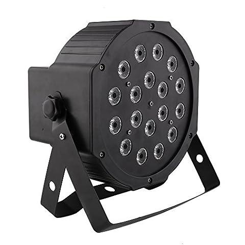 Amzdeal LED Par Licht, 18w 18 LEDs Discolicht mit Musik-activated, Auto-run und DMX512 Steuermodus, Verschiedene Farben Kombinationen von Rot, Grün und Blau, Multi-Winkel drehendem Halter,