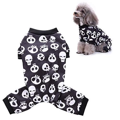 JLCYYSS Hund Pyjamas, Skeleton Hund Bekleidung Hund Overall Haustier Kleidung Pyjamas, Halloween Rollenspiel,S