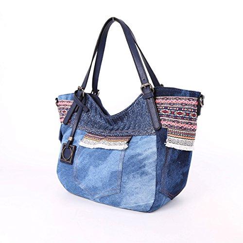 Angelkiss Tasche multiple Borse Lavato tessuto Borse a mano spalla dell'unità di elaborazione di jeans 9181/1 Blu scuro