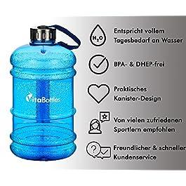 Bottiglia VITABOTTLE Nera da Usare in Palestra o Durante l'esercizio Fisico. Bottiglia da 2.2 L XXXL Senza BPA e DHEP da riempire con tanta Acqua