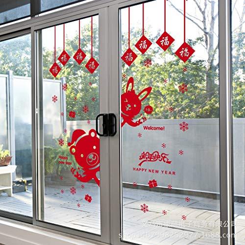 Hallo Neues Jahr Chinesisches Neujahr Glastür Aufkleber Neues Jahr Tür Aufkleber Fenster Shop Dekoration Fenster Blume Wand