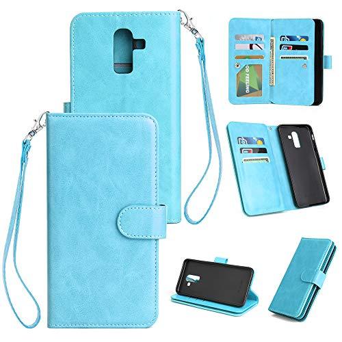 Yadasaro Samsung Galaxy A6 Plus (2018) Leder Hülle Ultra Slim Bookstyle Ledertasche PU Hülle Handyhülle Stoßfest Shockproof Vollschutz Schutzhülle für Samsung Galaxy A6 Plus (2018) - Blue