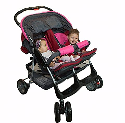 Poussette double twin rose Deluxe Tandem - BambinoWorld
