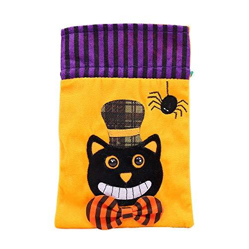 TianranRT Halloween niedlich Hexen Süßigkeiten Tasche Verpackung Kinder Party Aufbewahrung Tasche Geschenk (Katze)