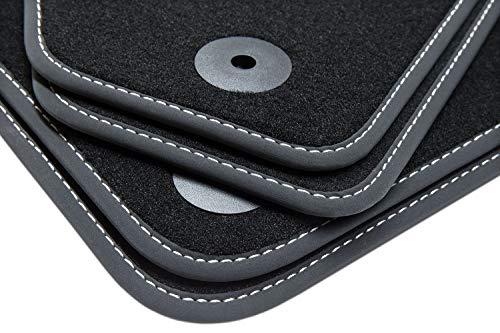 Tuning-Art V205 Auto Fußmatten Exclusive Bandeinfassung Steppnaht, Naht:Silber (Fun-auto-zubehör)