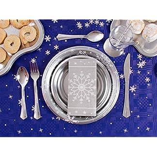 [Pack ahorro] Kit de vajilla desechable elegante con decoración de mesa para navidad ideal para fiestas – Plata – Incluye platos, cubiertos, bandejas, servilletas y confetti decorativo – 20 personas