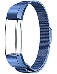 Fitbit Alta HR y Alta Correa, Swees Reemplazo SmartWatch Band de Reloj de Acero Inoxidable Milanese Bucle de Cierre Pulsera para Fitbit Alta HR y Alta - Azul