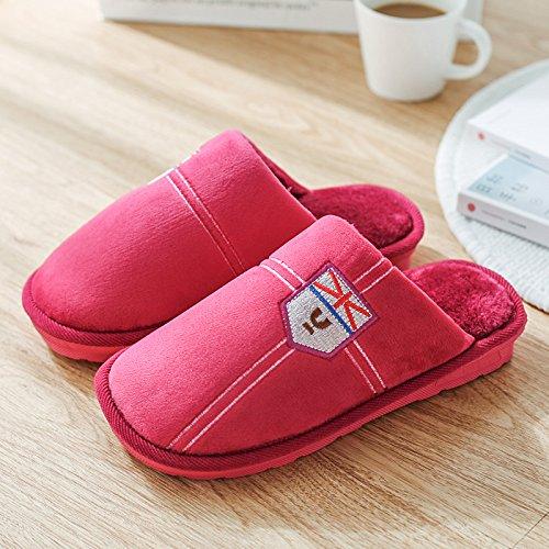 DogHaccd pantofole,La sig.ra cotone pantofole indoor soggiorno invernale con spesse, antiscivolo coppie soggiorno negli eleganti pavimenti caldi pantofole maschio Rosso4