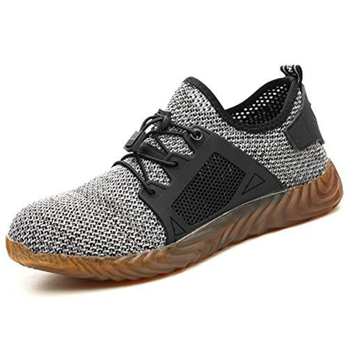 XYYK Schuhe für Herren und Damen, Stahl-Zehenschutz, pannensicher, atmungsaktiv, Schuhe, Grau - grau - Größe: 39.5 EU - Weiß Bowling-schuhe