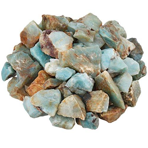mookaitedecor Amazonit Rohstück Steine, Mineral Amazonenstein Edelsteine für Familie / Büro / Garten / Aquarium Dekoration Schmückung, Kristall Reiki & Heilung (460g)