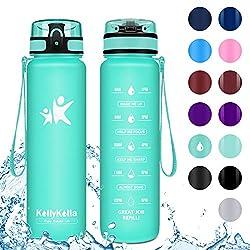 KollyKolla Trinkflasche - BPA-frei Auslaufsicher Sport Wasserflasche, 1L Tritan Sportflasche Kohlensäure Geeignet Kunststoff mit Filter für Kinder, Schule, Baby, Fahrrad, Gym, Matt Smaragd