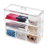 Choice Fun Organizador de maquillaje acrílico organizador de cajón de plástico transparente, 3 niveles 5 compartimentos