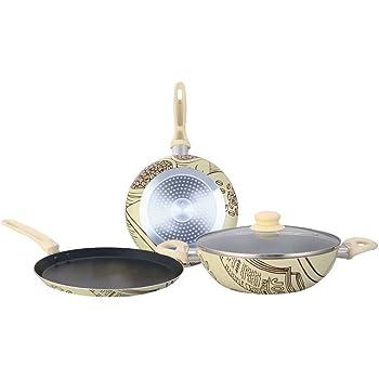 Wonderchef Picasso Induction Base Aluminium Cookware Set, 4-Pieces, Brown/Cream
