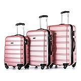 Flieks® Hartschale Trolley Koffer Reisekoffer Zwillingsrollen Gepäck mit Zahlenschloss Handgepäck mit 4 Doppel-Rollen (Pink)