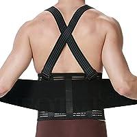 Faja para la espalda para hombres con tirantes, apoyo lumbar para el dolor en la parte inferior de la espalda, cinturón de culturismo / halterofilia, entrenamiento, seguridad en el trabajo y postura - Marca NEOtech Care ( TM ) - Color Negro - Talla M