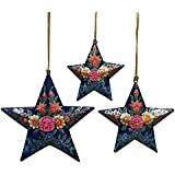 CraftDarbar Handcrafted Paper Mache Hanging Diwali Decorative Stars Ornaments (Set Of 3)