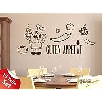 Sticker murale Set per cucchiaio da cucina di verdure Guten Appetit cucina (57x57cm // 090 grigio argento)