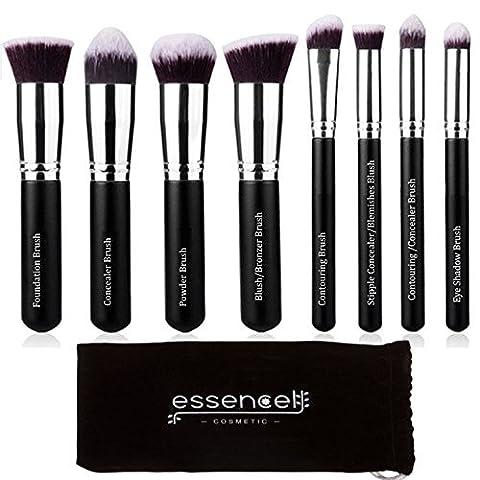 Essencell Make-up-Pinsel Synthetisches Premium Kabuki Cosmetic-Make-up-Pinsel-Set - (8stk, schwarz silber)