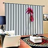 LYOUNG YANGG Moderne Schlafzimmer Gardinen, 3D Cock Digitaldruck Vorhang, Polyester Premium Schalldicht Fenster Gardinen, Schlafzimmer, Küche (2 X W46 X L72)