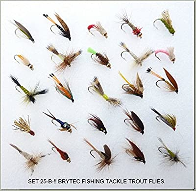 25 BARBLESS Trout Fly Fishing Flies Dry Wet Nymph Buzzers 25-B- BAR-BLESS -12 by Arc fishing supplies