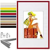 EUGAD #315 Bilderrahmen New Life Style, Bildergalerie Foto Rahmen Galerie Collage, Kunststoff und Echtglas, mit Passepartout, Rot, A4 21x29,7 cm