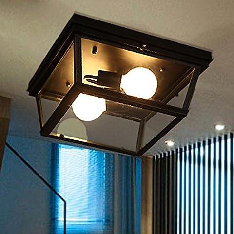 YM@YG Living lampade da soffitto Hall Hall plafoniere modo semplice moderna Lampade soffitto d'epoca in ferro vetro , s 36 black