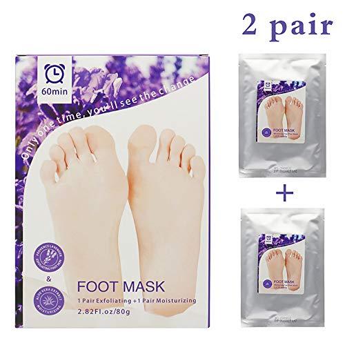 MJTP Peeling-Set für Fußschälmasken, Peeling für Hornhaut und abgestorbene Haut, Lavendel-Aloe-Booties zur Reparatur von Rauen Fersen Bio-booties