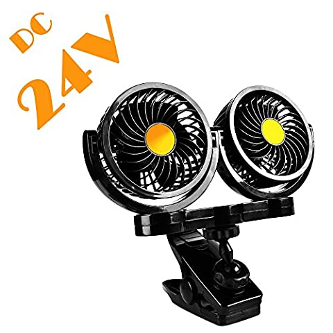 24V Dual Head Electric Car Fan with Clip, AFTERPARTZ HX-02 360 Degree Rotatable Car Auto Cooling Air Circulator Fan for 24V Auto