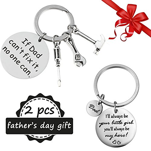 Bemomo 2pcs different festa del papà portachiavi, portachiavi per dad papa – if dad can' t fix it, nessuno può and i' ll always be your little girl, acciaio inox – great gift