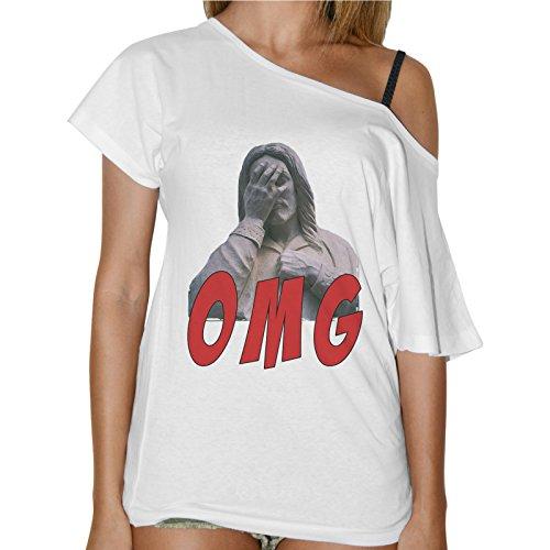 T-Shirt Donna Collo Barca O M G Divertente Funny Idea Regalo Bianco