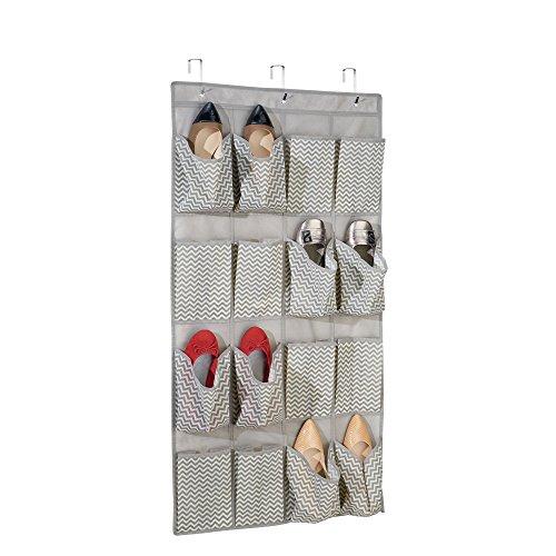 Mdesign organizzatore armadio in tessuto per scarpe, sandali, ciabattine - da porta, 16 tasche, grigio scuro / naturale