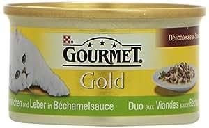 Gourmet Gold Katzenfutter Delicatesse en Sauce, Kaninchen und Leber in Bechamelsauce, 12er Pack (12 x 85 g) Dosen