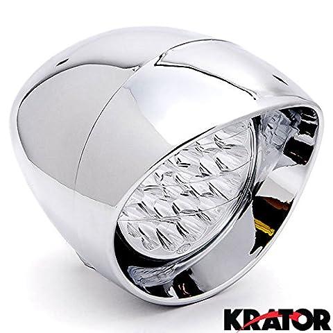 Krator 17,8cm Chrome Moto Phare LED métrique Cruiser Head Light basse et haute Faisceau