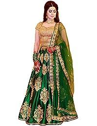 Laxmi Enterprise Women's Taffeta Silk Embroidered Lehenga Choli (Green_Taffeta_Lehenga Choli_Free)