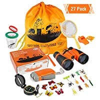ThinkMax Outdoor Explorer Kit, 27 Pcs Kids Adventure Exploration Set, Bug Catcher Set with Binoculars, Flashlight, Compass, Magnifying Glass, Butterfly Net and Backpack