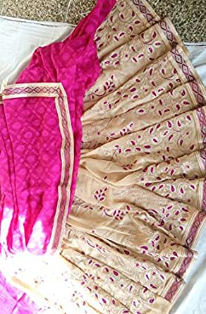 Beige and pink coloured half And half brasso and Georgette rich embroidery Saree With blouse