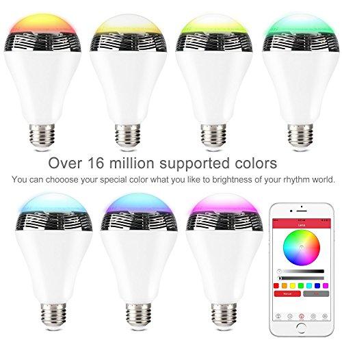 WanEway Bluetooth 4,0 Lampadina LED E27 W-Lampada con, Musica Cambiamento di Colore Colorato, altoparlante musicale per Smartphone, con App di controllo tramite iPhone, Android, dispositivi portatile  Bluetooth 4.0 Lampada Musica Cambiamento di Colore