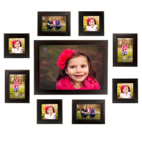 Wens Joyful Collage MDF and Glass Photo Frame (33.5 cm x 38.5 cm x 11.5 cm, Brown, Set of 9)