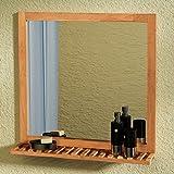 Festnight Badezimmerspiegel Badspiegel Badezimmer Spiegel Rahmen aus massivem Nussbaumholz 60 x 63 cm