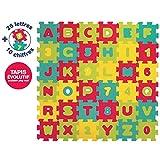 LUDI - Tapis de sol Lettres et chiffres, dès 10 mois. Puzzle géant. Lot de 36 dalles en mousse épaisses multicolores. Aide pour apprendre à lire et à compter - 1006
