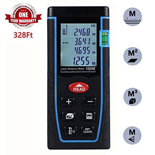 Laser Entfernungsmesser Distanzmesser Tragbar Distanzmessgerät von ZANTEC Messbreich 0,05~100m/±2mm mit LCD Hintergrundbeleuchtung, Staub- und Spritzwasserschutz IP 54, Batterie enthalten