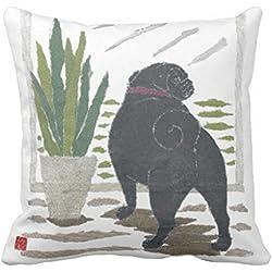 Negro Pug CARLINO fundas de cojín 18x 18decoración del hogar manta almohadas para sofá lienzo cuadrado Accent almohada Sham para sofá y sofá