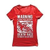 Frauen T-Shirt Todesrennen - ultimative Killerfahrt, Motorradrennen, Klassiker, Vintage, Retro-Schädel-Biker, Motorrad (X-Large Rot Mehrfarben)